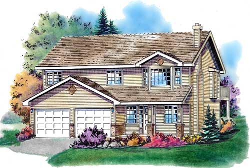 Narrow Lot Traditional Elevation of Plan 98842