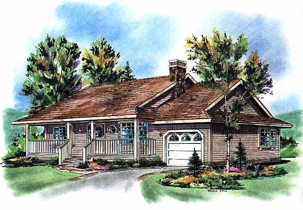 One-Story, Ranch House Plan 98847 with 2 Beds, 1 Baths, 1 Car Garage Front Elevation