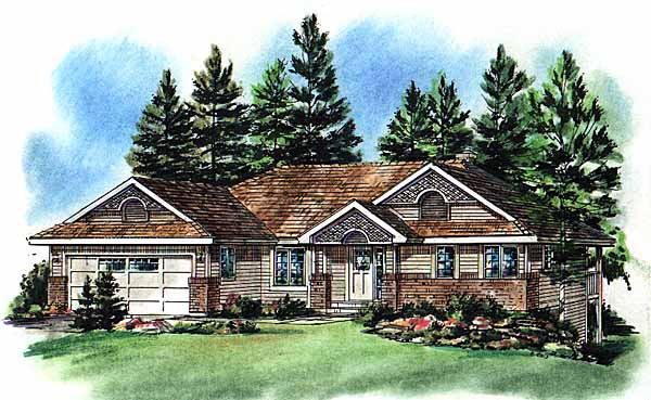 Ranch , Elevation of Plan 98852
