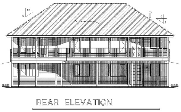 Ranch , Rear Elevation of Plan 98852