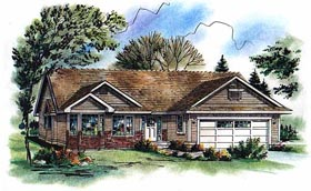 One-Story , Ranch House Plan 98855 with 3 Beds, 2 Baths, 2 Car Garage Elevation