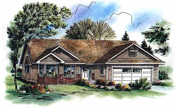 One-Story, Ranch House Plan 98855 with 3 Beds, 2 Baths, 2 Car Garage Front Elevation