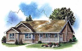 House Plan 98859 | Ranch Style Plan with 1265 Sq Ft, 2 Bedrooms, 2 Bathrooms, 2 Car Garage Elevation