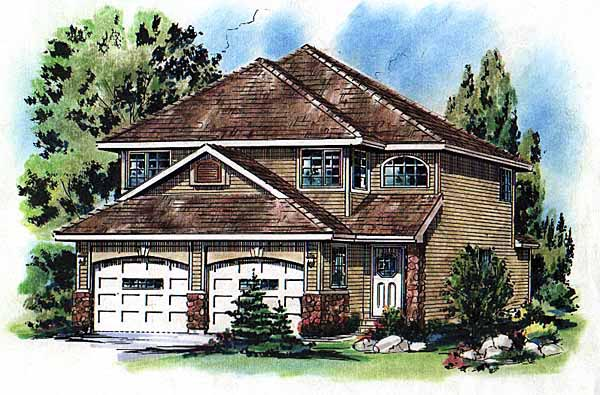 House Plan 98861 | Contemporary Style Plan with 1657 Sq Ft, 3 Bedrooms, 3 Bathrooms, 2 Car Garage Elevation