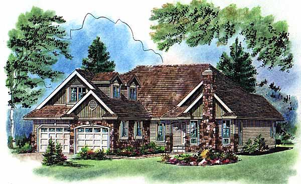 Craftsman Traditional Elevation of Plan 98864
