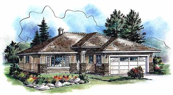 Florida, One-Story House Plan 98865 with 3 Beds , 2 Baths , 2 Car Garage Elevation