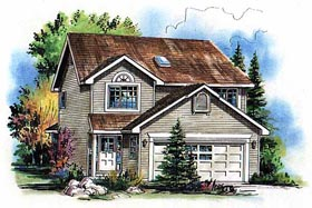 Traditional House Plan 98866 with 3 Beds, 3 Baths, 2 Car Garage Elevation