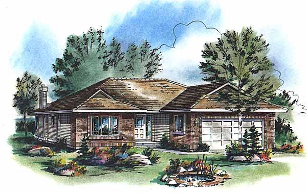 Ranch Elevation of Plan 98878