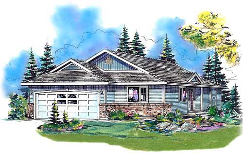 Contemporary, Narrow Lot, One-Story House Plan 98882 with 3 Beds , 2 Baths , 2 Car Garage Elevation