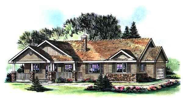 One-Story Ranch Elevation of Plan 98888