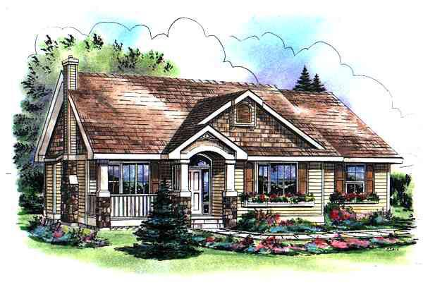 Craftsman , Bungalow House Plan 98890 with 3 Beds, 2 Baths, 2 Car Garage Elevation