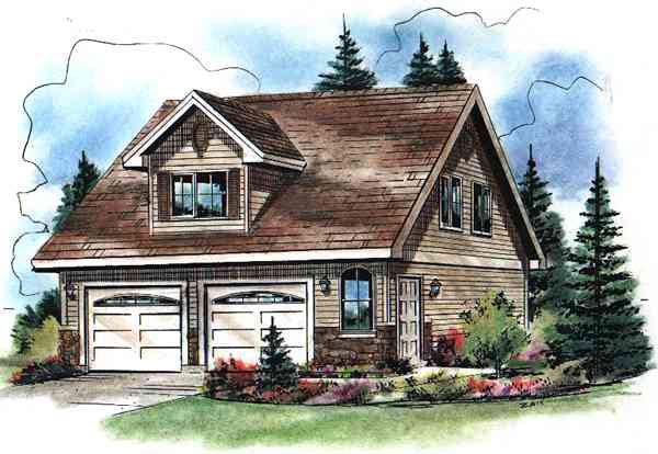 Cape Cod Style 2 Car Garage Apartment Plan 98892