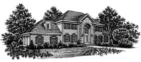 European , Colonial House Plan 99014 with 4 Beds, 3 Baths Elevation