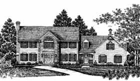 Colonial Country House Plan 99024 Elevation