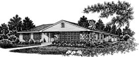 Bungalow, One-Story, Ranch House Plan 99031 with 3 Beds, 2 Baths, 2 Car Garage Front Elevation