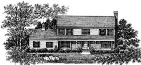 Country , Colonial House Plan 99034 with 4 Beds, 3 Baths Elevation