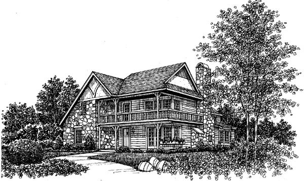 Tudor House Plan 99051 with 3 Beds, 3 Baths Elevation
