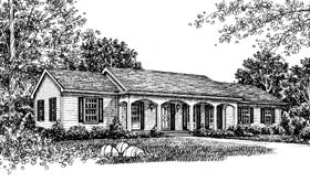 One-Story, Ranch House Plan 99057 with 3 Beds, 2 Baths, 2 Car Garage Elevation