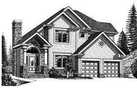 Bungalow Colonial Elevation of Plan 99069