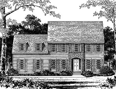 Colonial House Plan 99092 with 5 Beds, 2 Baths, 2 Car Garage Elevation