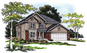 Country House Plan 99101 with 4 Beds, 3 Baths, 2 Car Garage Elevation