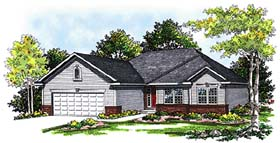 Ranch , Traditional House Plan 99104 with 3 Beds, 2 Baths, 2 Car Garage Elevation
