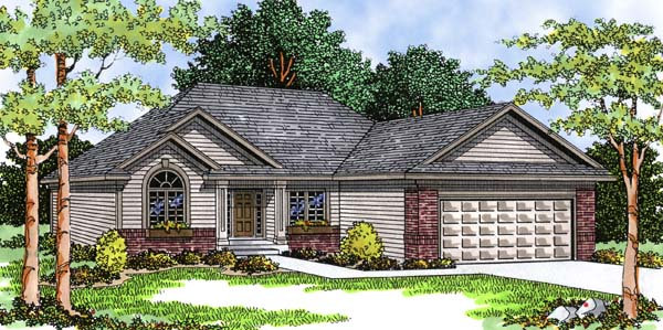 Ranch , European House Plan 99106 with 3 Beds, 2 Baths, 2 Car Garage Elevation