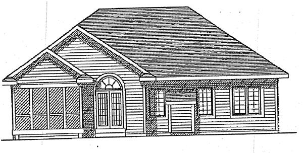 Ranch , European House Plan 99106 with 3 Beds, 2 Baths, 2 Car Garage Rear Elevation