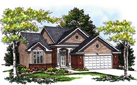 Bungalow House Plan 99108 with 3 Beds, 3 Baths, 2 Car Garage Elevation