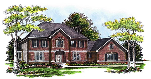 Colonial House Plan 99109 with 3 Beds, 4 Baths, 3 Car Garage Elevation