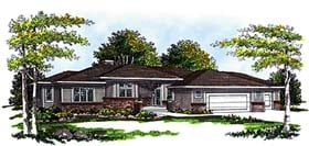 Southwest , Prairie Style House Plan 99111 with 3 Beds, 2 Baths, 3 Car Garage Elevation