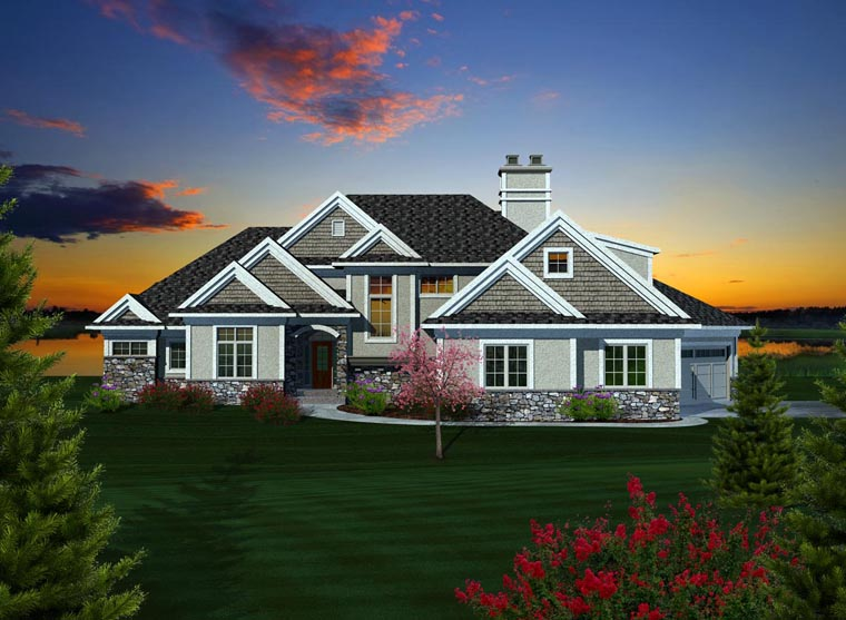 House Plan 99113 | Craftsman Style Plan with 4697 Sq Ft, 4 Bedrooms, 4 Bathrooms, 3 Car Garage Elevation