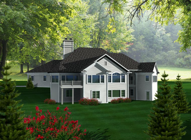 Craftsman House Plan 99113 with 4 Beds, 4 Baths, 3 Car Garage Rear Elevation