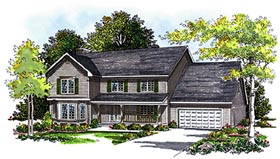 Country House Plan 99114 with 4 Beds, 3 Baths, 2 Car Garage Elevation