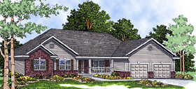 European House Plan 99115 with 3 Beds, 3 Baths, 3 Car Garage Elevation