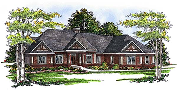 European House Plan 99120 with 2 Beds, 3 Baths, 3 Car Garage Elevation