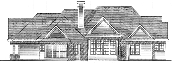 European House Plan 99120 with 2 Beds, 3 Baths, 3 Car Garage Rear Elevation