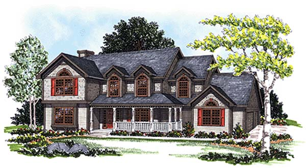 Cape Cod, Country, European House Plan 99122 with 4 Beds, 3 Baths, 3 Car Garage Elevation
