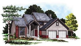 House Plan 99127 | Traditional Style Plan with 2262 Sq Ft, 3 Bedrooms, 3 Bathrooms, 2 Car Garage Elevation