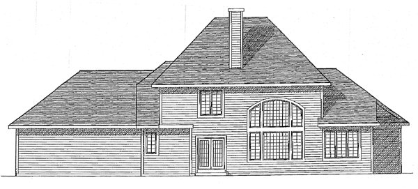 Colonial European House Plan 99128 Rear Elevation