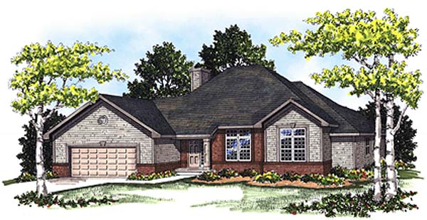 Traditional House Plan 99130 with 3 Beds, 2 Baths, 2 Car Garage Elevation