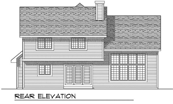 Colonial House Plan 99137 with 3 Beds, 3 Baths, 2 Car Garage Rear Elevation