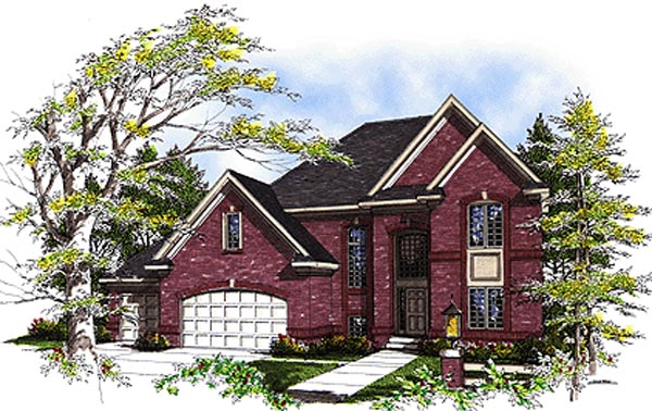 European House Plan 99142 with 3 Beds, 3 Baths, 3 Car Garage Elevation