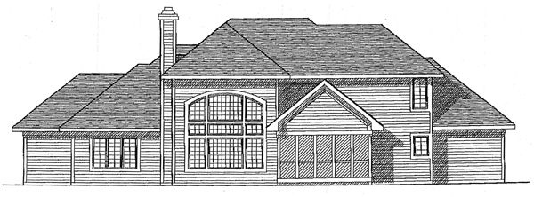 European House Plan 99143 with 3 Beds, 3 Baths, 3 Car Garage Rear Elevation