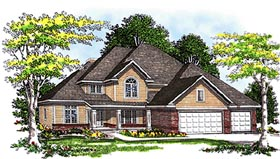House Plan 99145 | European Style Plan with 2830 Sq Ft, 4 Bedrooms, 3 Bathrooms, 3 Car Garage Elevation