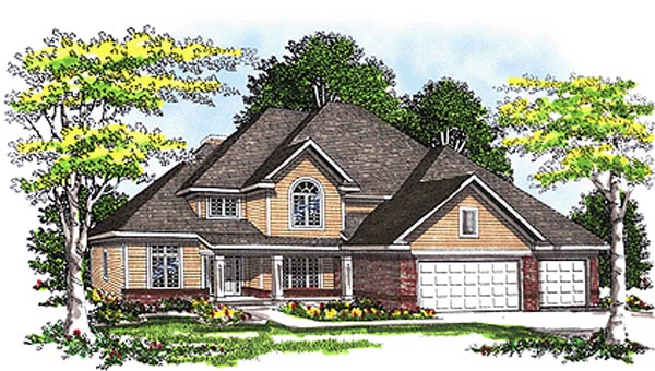 European House Plan 99145 with 4 Beds, 3 Baths, 3 Car Garage Front Elevation
