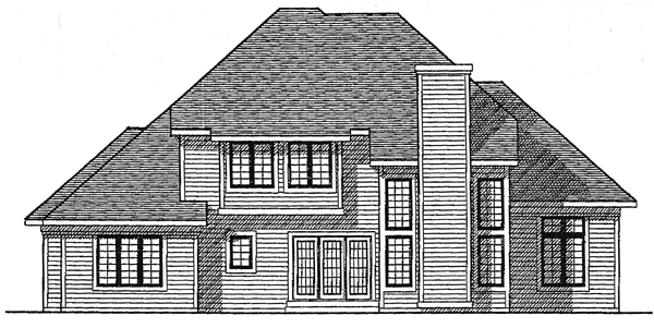 European House Plan 99145 with 4 Beds, 3 Baths, 3 Car Garage Rear Elevation