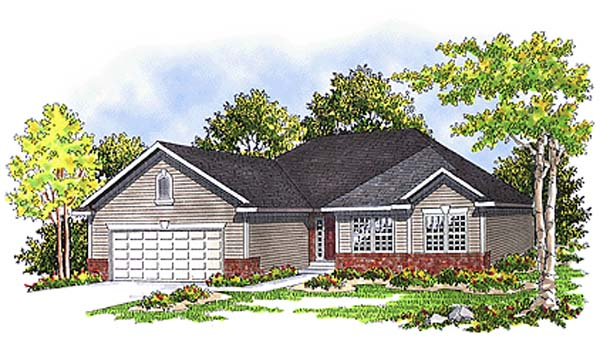 Bungalow, One-Story, Ranch House Plan 99152 with 3 Beds, 2 Baths, 2 Car Garage Elevation