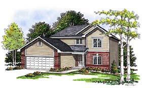 Traditional House Plan 99155 with 3 Beds, 3 Baths, 2 Car Garage Elevation
