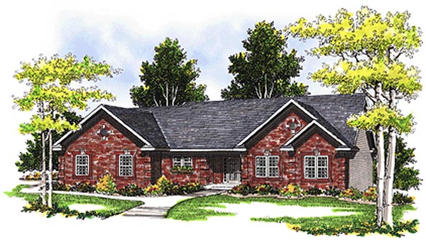 Ranch House Plan 99157 with 4 Beds , 4 Baths , 3 Car Garage Elevation